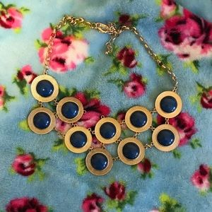 Blue and gold dot chunky necklace